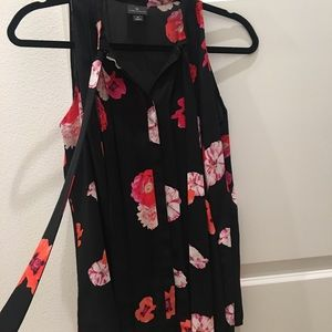 Black Tunic Styled Blouse with Flower Pattern